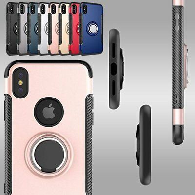 Luxury Slim Shockproof With Ring Holder Protective Case for iPhone X 10 7 8 P UK