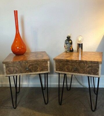 Pair MODERNIST vintage INDUSTRIAL bedside tables KITSCH hairpin MID CENTURY