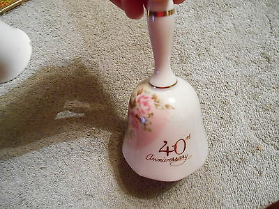 Cameron 40th Anniversary Porcelain Bell w Springtime Flowers Made in Japan