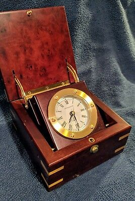 LEVENGER premium BOX CLOCK mahogany with brass accents WELL READ LIFE