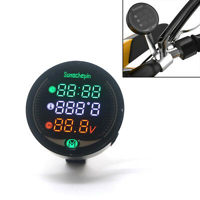 Universal 3-in-1 Black Motorcycle LED Digital Voltmeter Clock Thermometer Combo