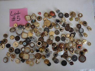 #5 Mixed Lot of Sewing Buttons Metal & Plastic Many Shapes, Diff Colors & Sizes