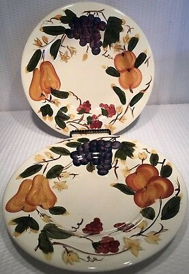 "Lot Of 2 ~ 11"" HD Designs Fruit Dinner Plates Grapes/Pears/Cherries ~ EC"