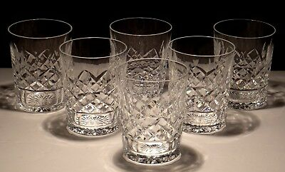 6 Vintage Waterford Crystal Lismore Double Old Fashioned Glasses ~ 4 3/8 Ireland