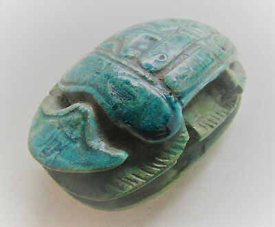 Large Ancient Egyptian Glazed Faience Scarab With Heiroglyphics