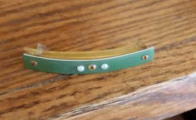 Vintage Celluloid Hair Clip/Barrette-Green Overlay w/Rhinestones & Pearls