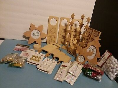 Christmas Wood Crafts Lot / 41 Items Ready to Paint & Misc Decorative - NEW