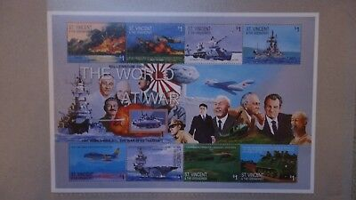 Briefmarkenblock   ST VINCENT & GRENADINES  --  THE WORLD AT WAR