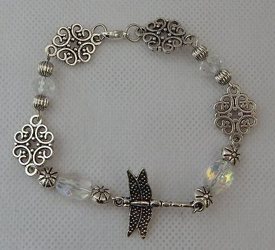 Dragonfly Link Bracelet Beaded Silver Jewelry Handmade NEW Fashion Accessories