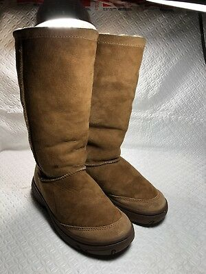 7831de122ca UGG WOMEN'S TALL Brown Leather / Suede Boots w/Laces S/N 5746 New ...