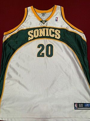 promo code ea2a0 545be GARY PAYTON #20 Reebok Authentic Vintage Seattle Supersonics Jersey Size 60