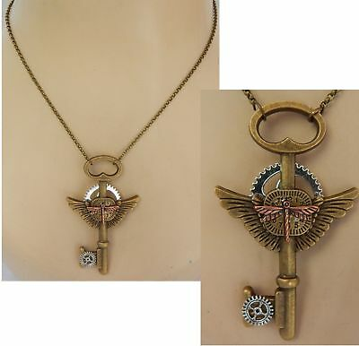 Dragonfly Key Necklace Pendant Jewelry Handmade NEW Gold Fashion Chain Women
