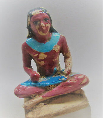 Beautiful Ancient Egyptian Painted Sandstone Statuette Seated Male