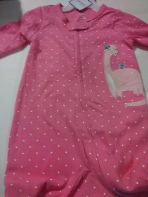 1d9023d6a CARTERS BABY GIRL One Piece Footed Pink Dinosaur Pajama Size 9 ...