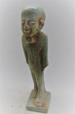 Beautiful Ancient Egyptian Glazed Faience Statuette Of Ptah
