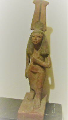 Large Ancient Egyptian Wooden Funerary Statuette. Very Rare. Wooden Ushabti.