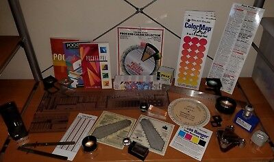Lot of old-school Graphic Design Tools, Loupes, Line Gauge, Pica Rulers, etc.