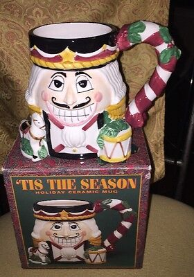 'Tis the Season NUTCRACKER Christmas Large Mug Handpainted Ceramic NEW