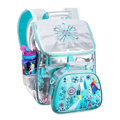 42ef9237609 Disney Store Frozen Backpack   Lunch Tote Box Elsa Snowflake School Bag  Silver