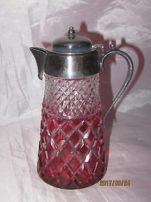 Antique Diamond Ruby Cut to Clear Syrup Jug