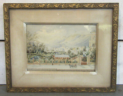 Mystery Artist - Antique Original Painting - 19th Century City EUROPEAN