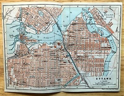 1907 Original OTTAWA, Canada  Antique Color Map - Authentic BAEDEKER w/ Streets