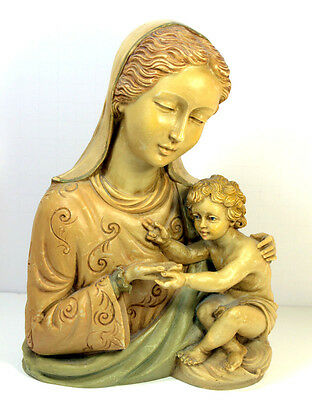 Antique Italian Carved Virgin Mary Madonna Child Religious Statue Figurine sign