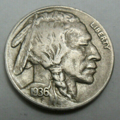"1936 D Indian Head ""buffalo"" Nickel  *good Or Better*   **free Shipping**"