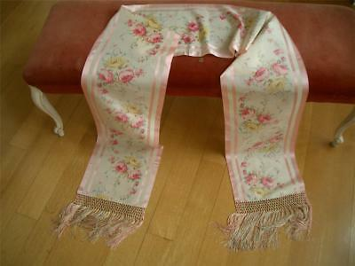 Lg Fringed Antique Vtg Watered Silk Roses Stole Shawl Scarf Table Runner Panel