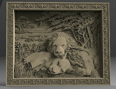 STL 3D Model # RELAX TWO LIONS #  for CNC Aspire Artcam 3D Printer 3D MAX