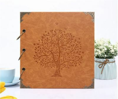 DIY PU Leather Cover Vintage Tree Kraft Paper Photo Album Wedding Baby Scrapbook