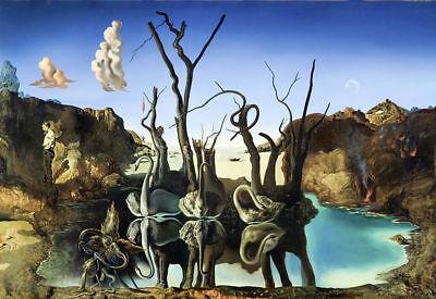 Salvador Dali Swans reflecting in elephants Art Poster 24x36 24x43