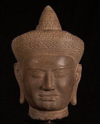 Antique Bayon Style Stone Mounted Khmer Vishnu Head - 49cm / 20""