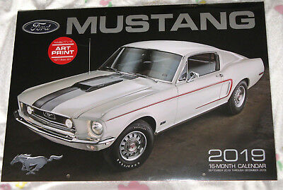 Ford Mustang Calendar 2019 large wall style 16 month 17 x 12 inch cool gift