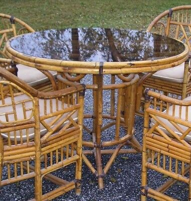 Vintage Mid Century Bamboo Rattan Chinese Chippendale Dining Table-Only