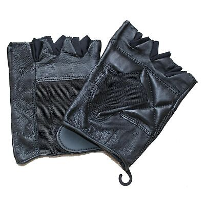 MENS MOTORCYCLE FINGERLESS GENUINE LEATHER GLOVES w/ ADJUSTABLE CLOSURE - UK1E