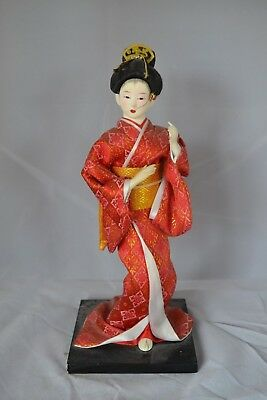Vintage Asian Japanese Oriental Doll Figure Standing Red  #11