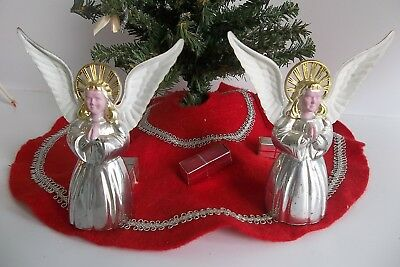 """2 Vtg Hard Plastic Angels Christmas Ornaments 4"""" Candy Containers"""