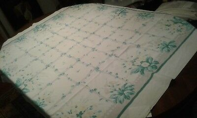 """Vintage White Cotton TABLECLOTH with Green, Yellow, Gray Floral Design 52"""" x 48"""""""