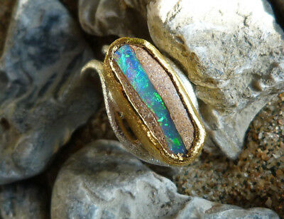 Ring 925 silver and gold 24 ct,opal from'Australia ( wood fossilized ),size 55