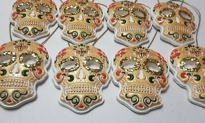8 Day Of The Dead Sugar Skull Gothic Christmas Tree Decorations Handmade Gold