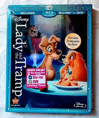 Disney Lady and the Tramp 2 Disc Combo Pack DVD Blu-Ray Diamond Edition Used