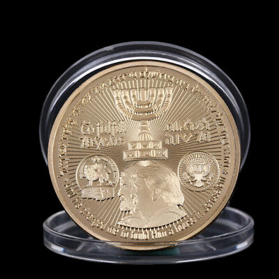 2018 King Cyrus Donald Trump Gold Plated Coin Jewish Temple Jerusalem Israel FB