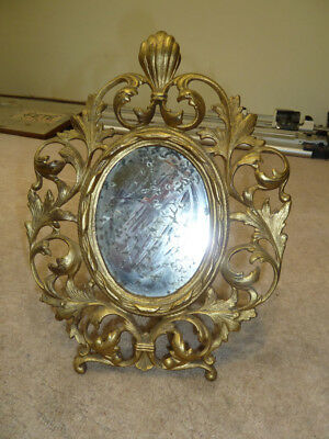 Early 20thC Rococo Brass Strut Mirror with Beautiful Worn Plate.
