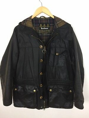 Barbour GALASHIELDS Hooded Waxed Wax Cotton Jacket Olive Green M Medium