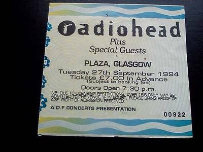 Radiohead ticket  Plaza Glasgow 27/09/94