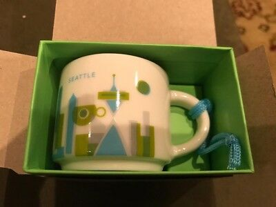 2015 STARBUCKS YOU ARE HERE CHRISTMAS ORNAMENT SEATTLE CUP NEW IN BOX 2 oz.