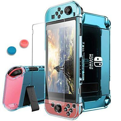 Nintendo Switch Case Cover and Tempered Glass Screen Protector 360 Degree Blue