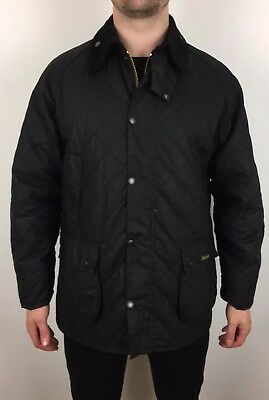 Barbour SMU Classic Bedale Waxed Wax Cotton Jacket BLACK Quilted Large L