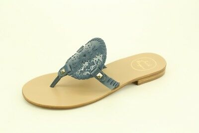 ce0c5f25248b New Jack Rogers Georgica Blue Patent Leather Flat Thong Sandals with Defect